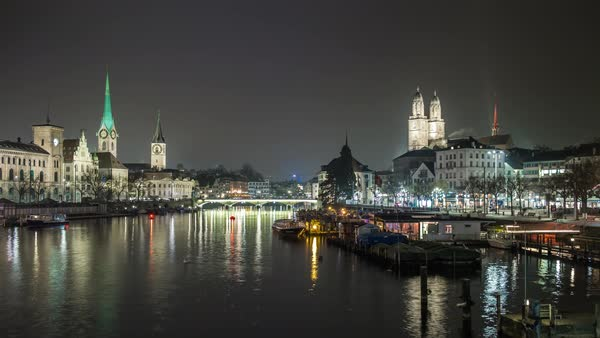 Night Zurich Central River Bridge View Timelapse Switzerland Royalty-free stock video