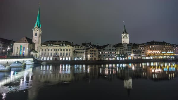 Zurich Night Limmat Riverside City Scape View Timelapse Switzerland Royalty-free stock video