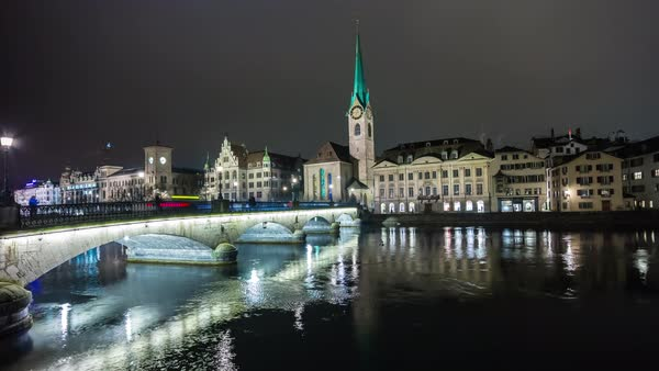 Night Zurich Central Bridge Cityscape View Timelapse Switzerland Royalty-free stock video