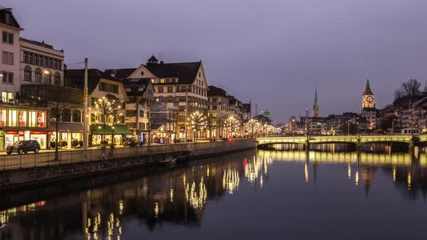 Zurich Scape Night River Bridge View Timelapse Switzerland Royalty-free stock video