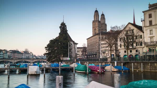 Zurich Grossmunster Cathedral River Dock View Timelapse Switzerland Royalty-free stock video