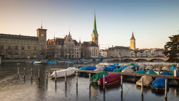 Sunset Zurich River Lady Minster Cathedral Boat Dock Timelapse Switzerland Royalty-free stock video