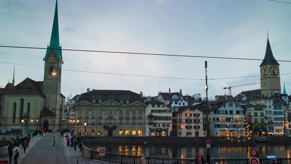 Zurich Fraumunster Church Limmatquai Bridge View Timelapse Switzerland Royalty-free stock video