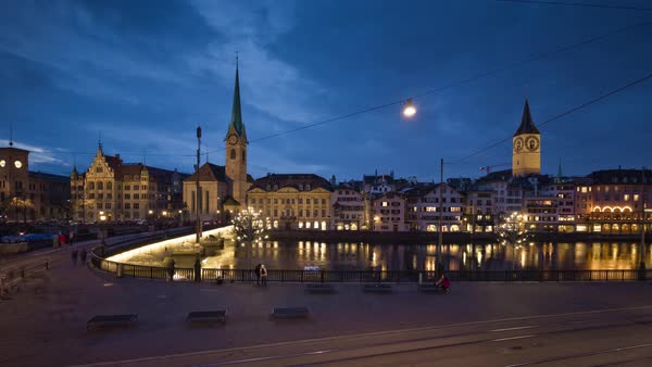 Zurich Fraumunster Church Limmatquai Munsterbrucke Timelapse Switzerland Royalty-free stock video