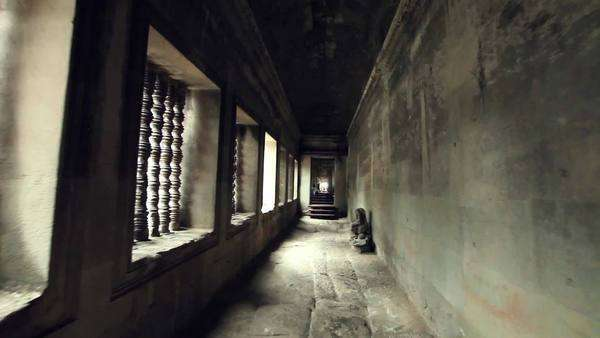 Point of view shot inside the corridor of an ancient Cambodian temple Royalty-free stock video