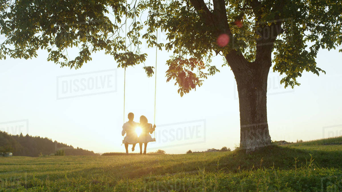 Lovely young couple sits on rope swing at golden twilight under large tree in grassy meadow. Setting sun shining on boyfriend and girlfriend enjoying a date on a summer evening. Royalty-free stock photo
