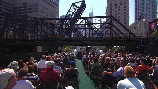 Wide shot of a boat trip on Chicago River Rights-managed stock video