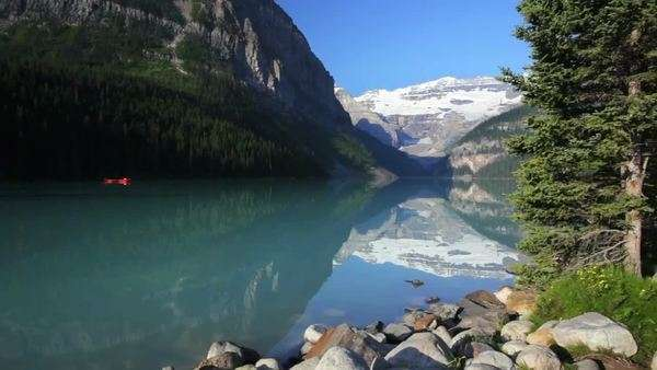 Banff National Park, Canada, Lake Louise, crane shot Royalty-free stock video