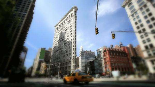 New York architecture, Flatiron building, defocused Royalty-free stock video