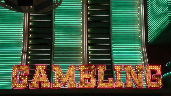 Gambling in neon lights, Fremont Street, Las Vegas, Nevada Royalty-free stock video
