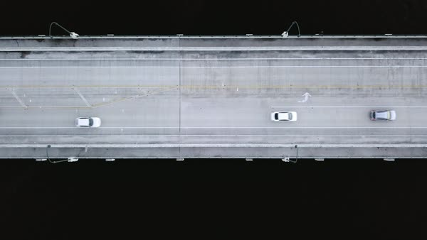 Aerial shot of vehicles moving on bridge Royalty-free stock video