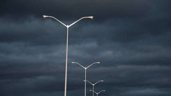 Streetlights with dark cloudy sky Royalty-free stock video