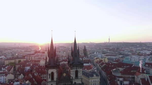 Aerial view of sunrise in old center of Prague, Czech Republic Royalty-free stock video