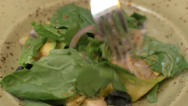 Close-up shot of eating salad with zucchini slices, chicken, black olives, onions and green salad leaves Royalty-free stock video
