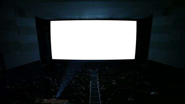 White cinema screen with projector light and audience in a modern cinema house. The most powerful shot in my cinema screen collection. Quite ready to add your video. Royalty-free stock video