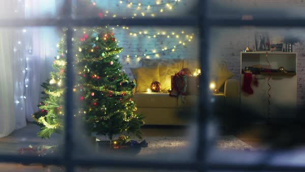 Beautiful Moving Shot From a Snowy Street Into the Window. Seeing Decorated Christmas Tree with Gifts Under It and Lots of Christmas Lights in the Room with cozy Celebratory Atmosphere. Royalty-free stock video