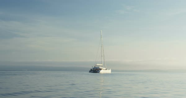 White catamaran yacht sailing on a beautiful azure sea with land in the background.  Royalty-free stock video