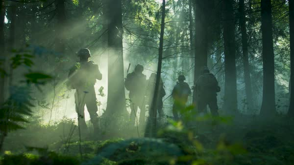 Fully equipped soldiers wearing camouflage uniform attacking enemy, rifles ready to shoot. Military operation in action, squad running in formation through dense smokey forest. Back view slow motion footage.  Royalty-free stock video