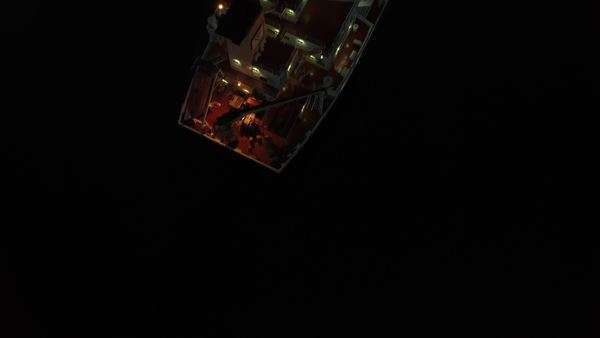 Aerial overhead shot of tanker ship at night time Royalty-free stock video