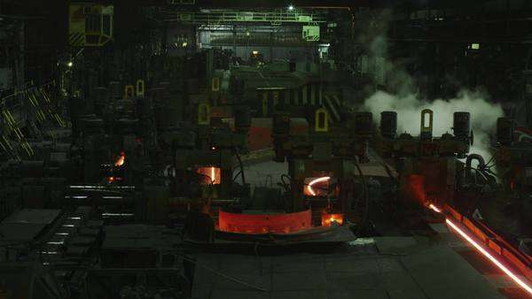 Timelapse of heavy industry machines processing melted burning hot metal. Royalty-free stock video