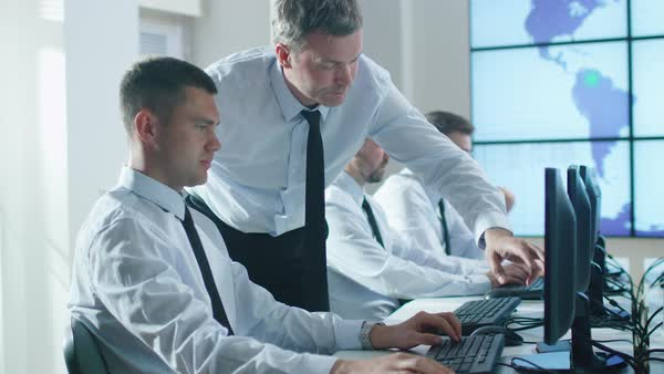 Team of professionals working at the computers in bright office. Experienced worker helps trainee. Royalty-free stock video
