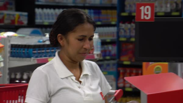 Portrait of a Cashier Woman Royalty-free stock video