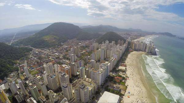 Aerial view of famous beach on a summer day along Brazilian coastline Royalty-free stock video