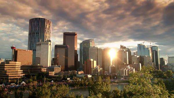 Timelapse shot of the clouds over the skyscrapers of Calgary Royalty-free stock video