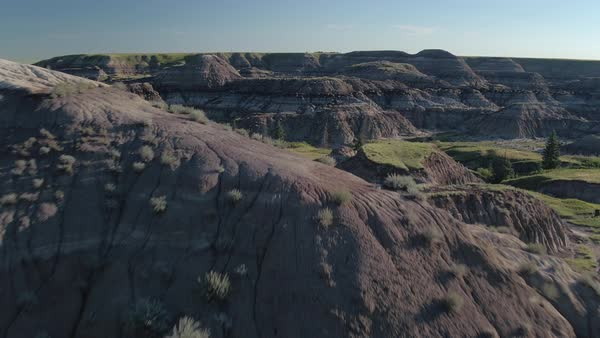 Aerial shot of badlands in Alberta Royalty-free stock video