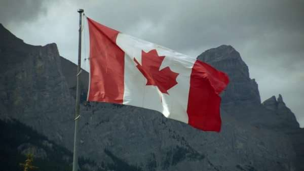 Close-up shot of the Canadian flag blowing in the wind Royalty-free stock video