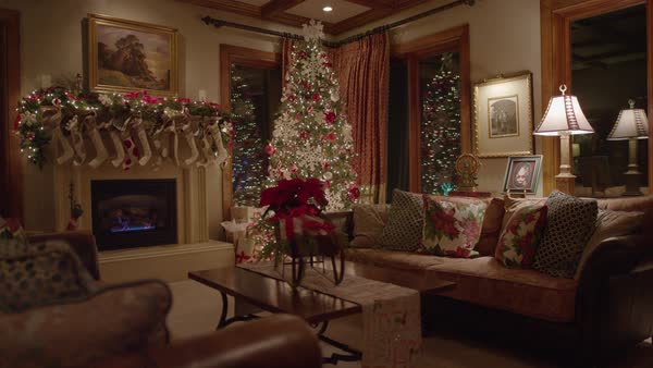 wide shot shot of Christmas decor in house Royalty-free stock video