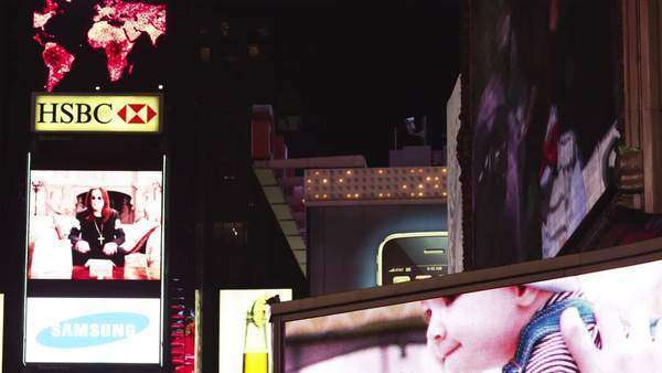 MS Illuminated advertisements at Times Square at night, New York City, New York Royalty-free stock video
