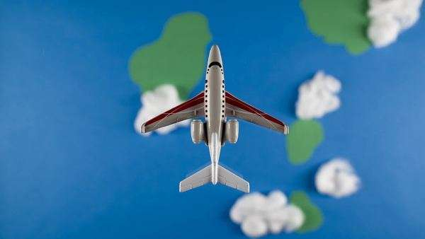 Stop Motion Model airplane flying through clouds/ studio shot Royalty-free stock video