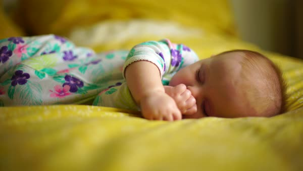 Medium shot of a sleeping baby Royalty-free stock video