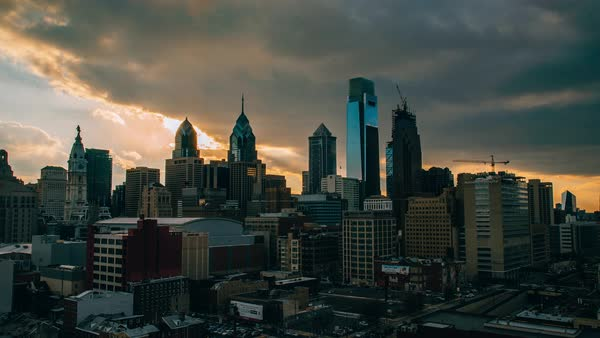Timelapse of Philadelphia cityscape Rights-managed stock video