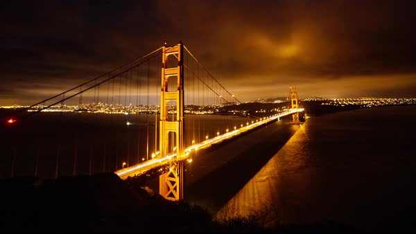Timelapse of Golden Gate Bridge at night Royalty-free stock video