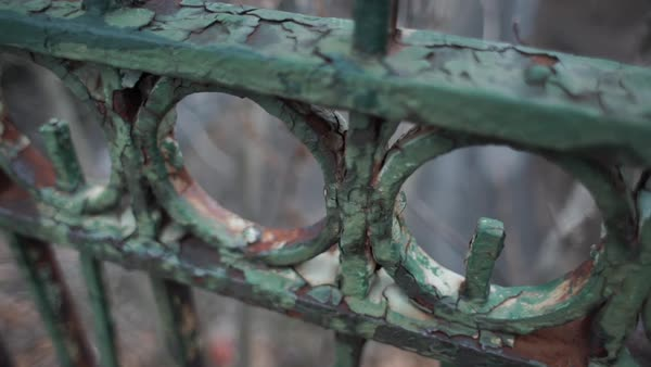 Close-up shot of the rusty hand railing of Reading Viaduct Rights-managed stock video