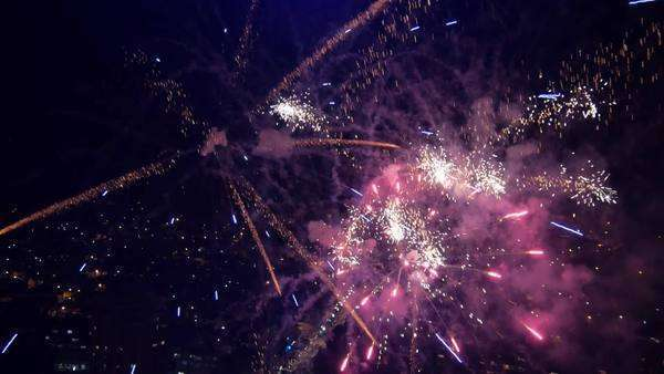 Aerial view of the big fireworks and concert at the city center square. Royalty-free stock video