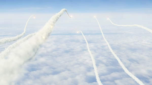 Swarm of rockets fired POV over the clouds winding into distance Royalty-free stock video