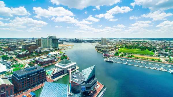 Aerial view timelapse of Baltimore Inner Harbor Royalty-free stock video