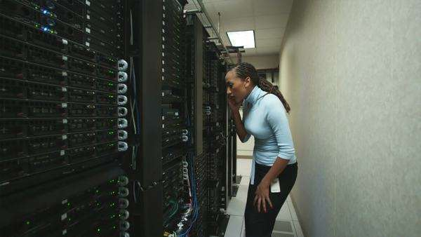 Woman in a server room Royalty-free stock video