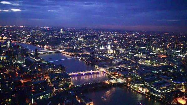 London skyline aerial view at night Royalty-free stock video