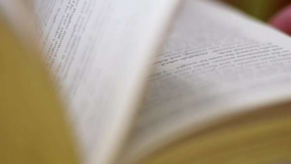 Macro view of pages flip in a book. Close-up of a book with turning pages. Royalty-free stock video