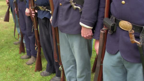A Steady cam shot of Civil War soldiers in a row Royalty-free stock video