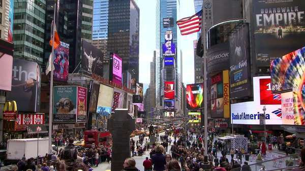 People on the busy street of Times Square, New York, USA Royalty-free stock video