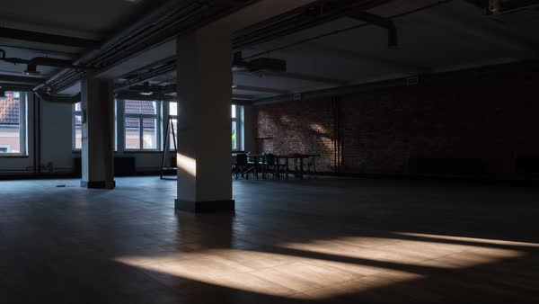 Timelapse Of Sun Rays Moving Over An Empty Rustic Office Space Royalty Free Stock Video