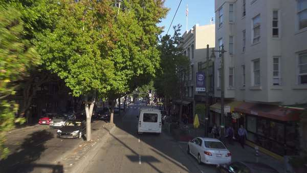 SAN FRANCISCO - October, 2015 - A high-angle POV driving on Columbus Avenue in San Francisco's Russian Hill area.    Royalty-free stock video