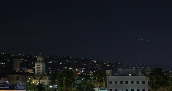 BEVERLY HILLS, CA - Circa February, 2016: A night to day sunrise timelapse of Beverly Hills.  	 Royalty-free stock video