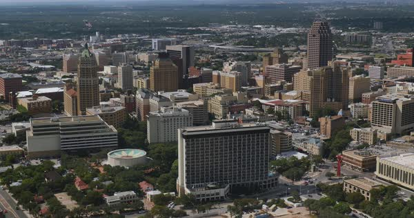 An aerial view over the skyline of San Antonio, Texas.  	 Royalty-free stock video