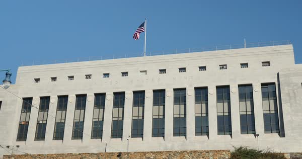 A daytime establishing shot of the US Mint Building in San Francisco.  	 Royalty-free stock video